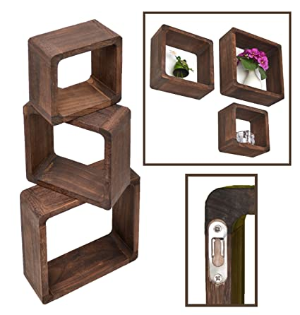 best service 56d09 f41eb Set of 3 Retro Design Lounge Cube Shelves in Dark Brown in Different Sizes  Cotton Style