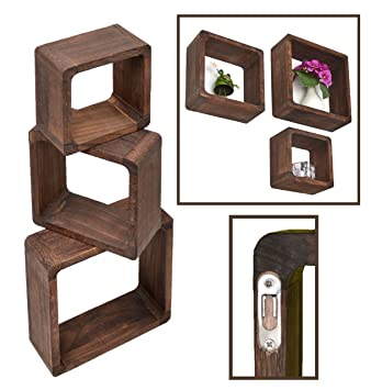 Wandregal würfel holz  ts-ideen 3er Set Lounge Cube Regal Holz Landhaus Stil Wandregal ...