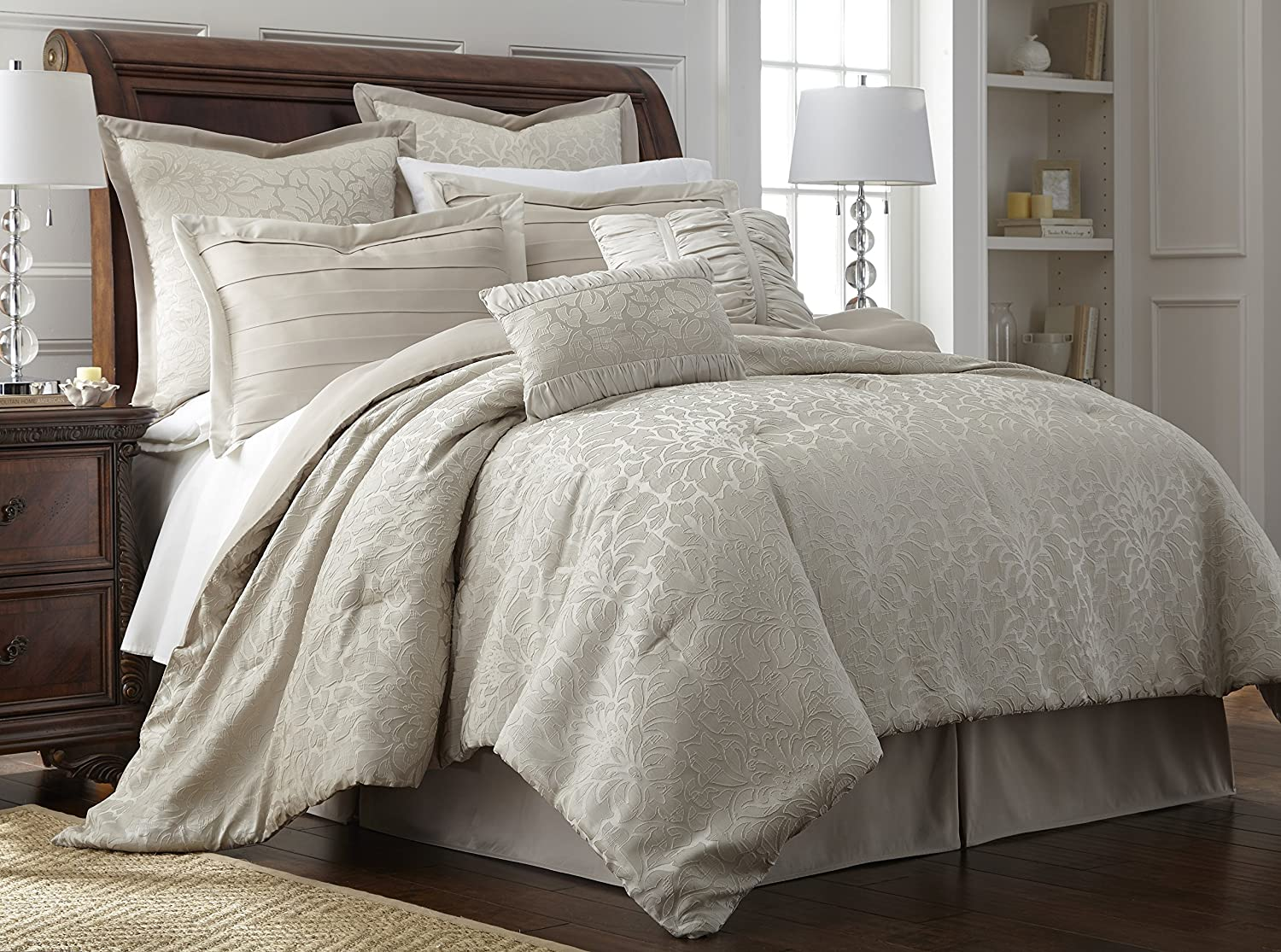 Pacific Coast Textiles 38EMBCFB-SAM-KG 8-Piece Samantha Comforter Set, King, Ivory