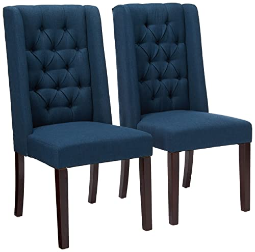 Christopher Knight Home Billings Tufted Navy Blue Fabric Dining Chairs Set of 2