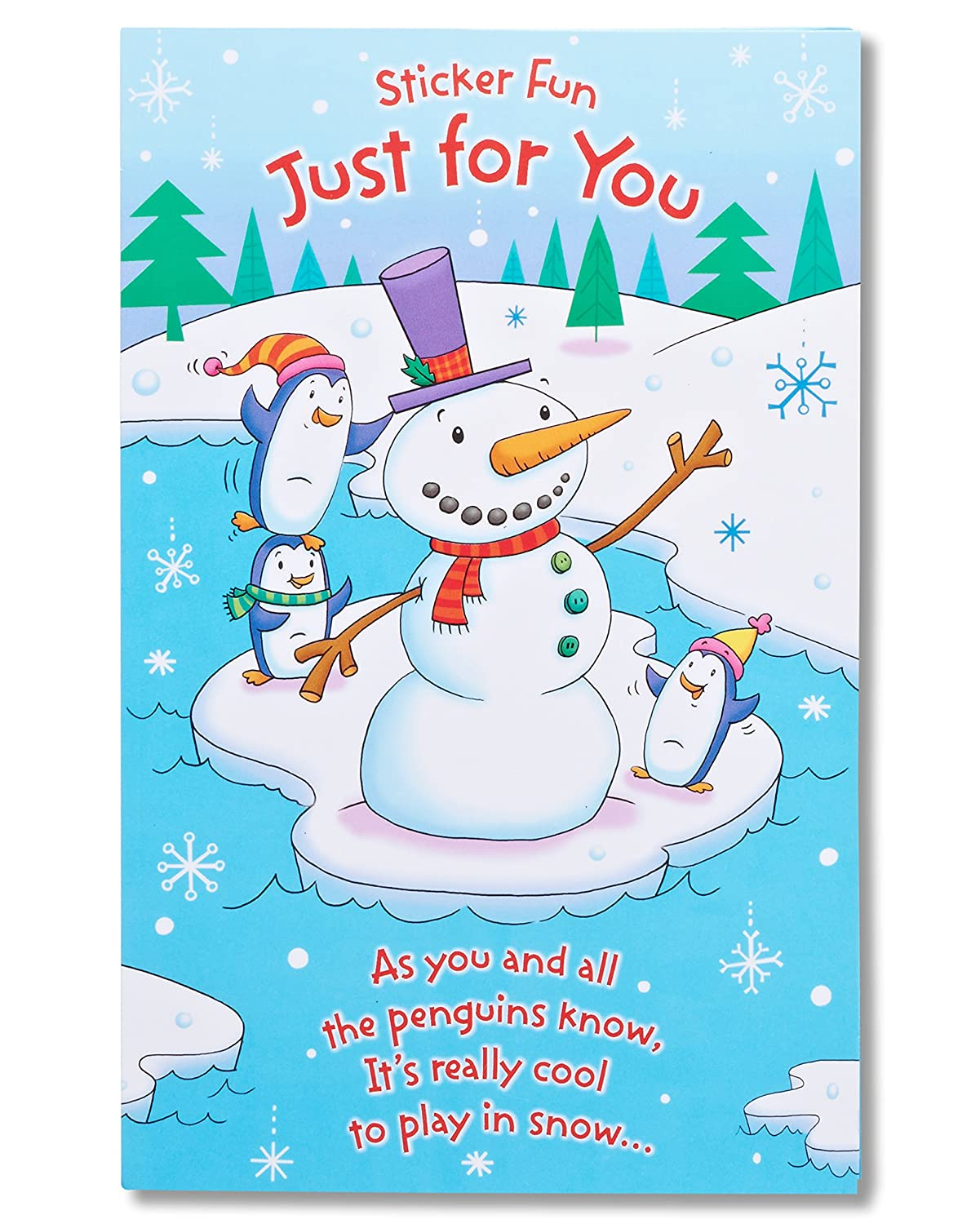 Amazon american greetings snowman christmas card with amazon american greetings snowman christmas card with stickers office products kristyandbryce Gallery
