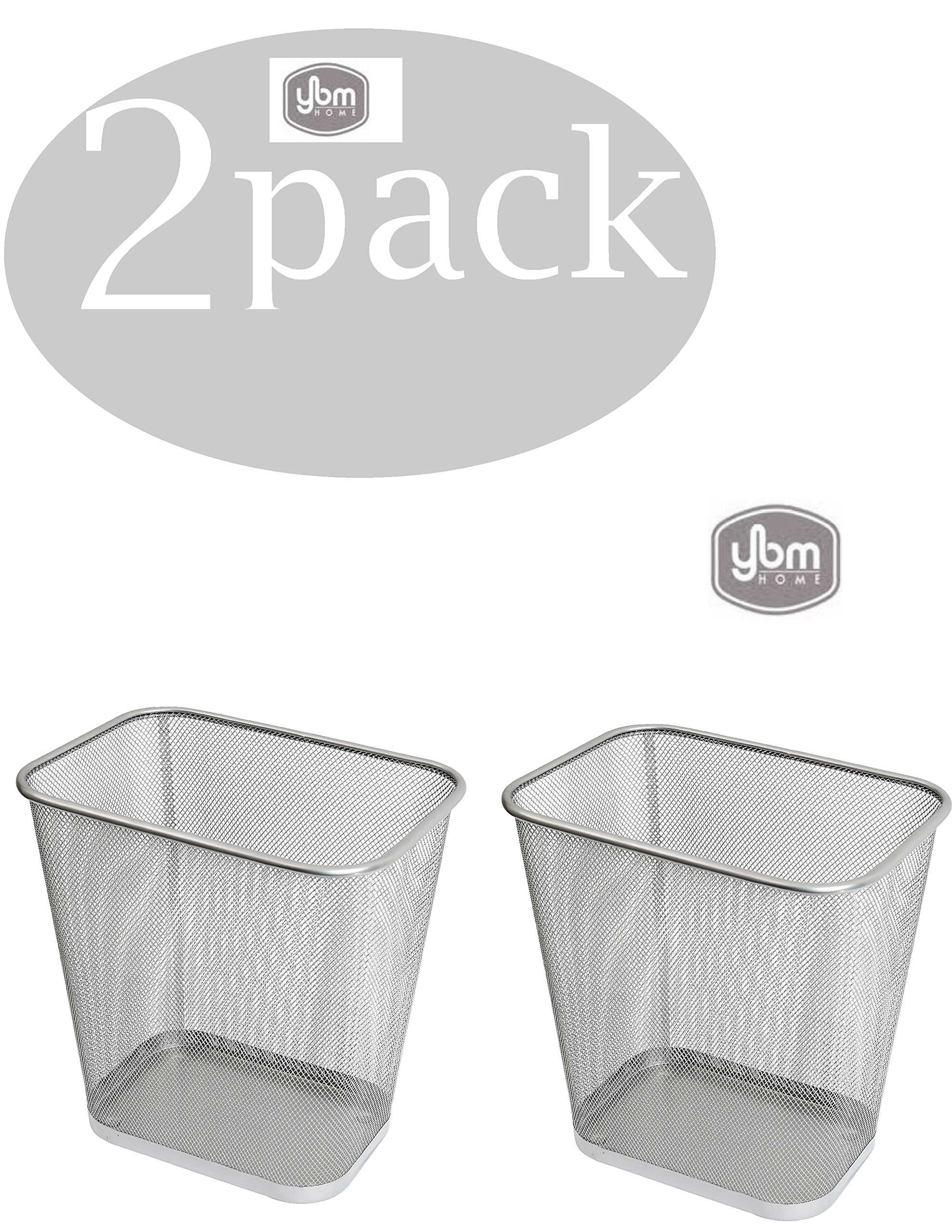 Ybmhome Steel Mesh Rectangular Open Top Waste Basket Bin Trash Can for Office Home 8x12x12 Inches 1042s-2(2, Silver)