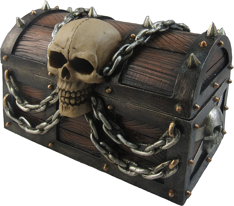Dwk Treasure Of Terror Pirate Treasure Chest With Skull And Chains Trinket Storage Jewelry Stash Keepsake Box Beach Nautical Caribbean Themed Home Decor Accent 6 Home Improvement