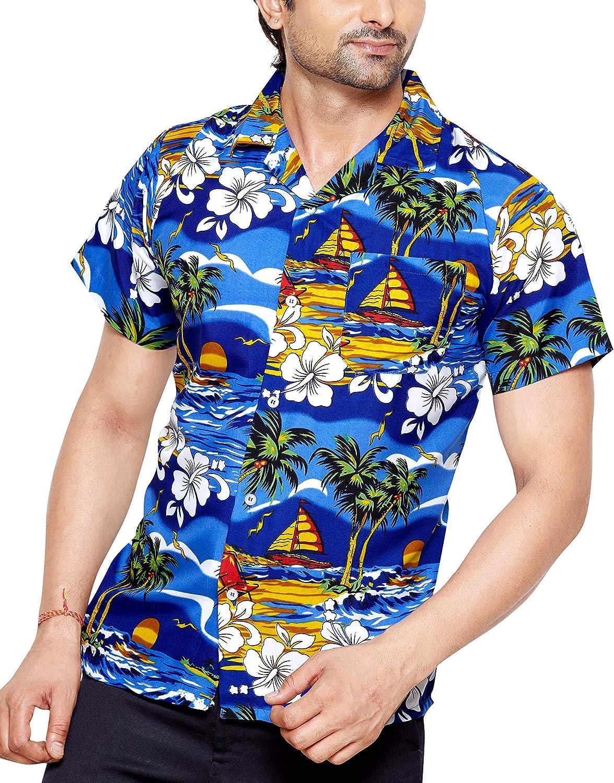CLUB CUBANA Camisa Hawaiana Florar Casual Manga Corta Ajustado para Hombre: Amazon.es: Ropa y accesorios