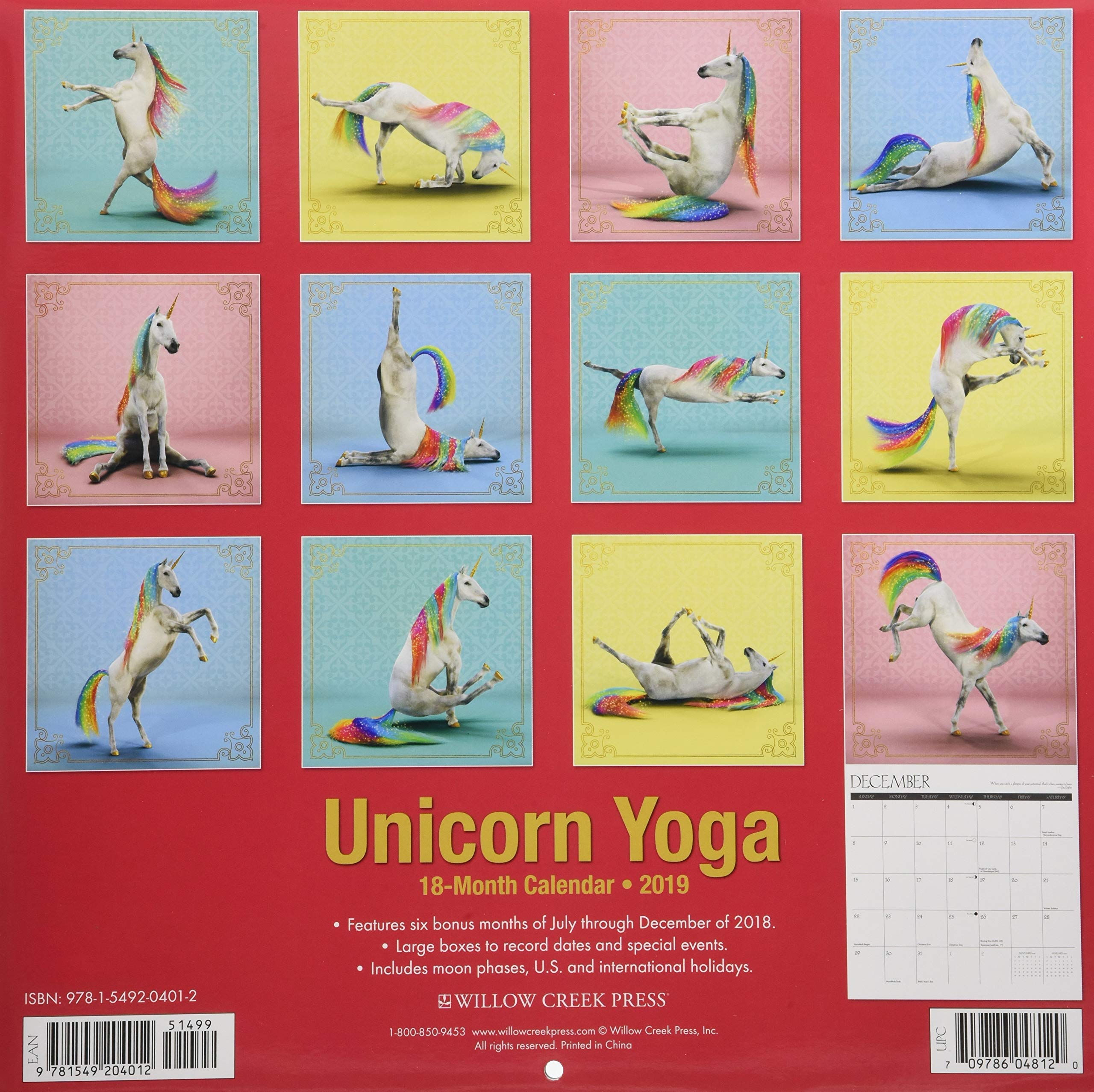 Unicorn Yoga 2019 Wall Calendar: Amazon.es: Willow Creek ...