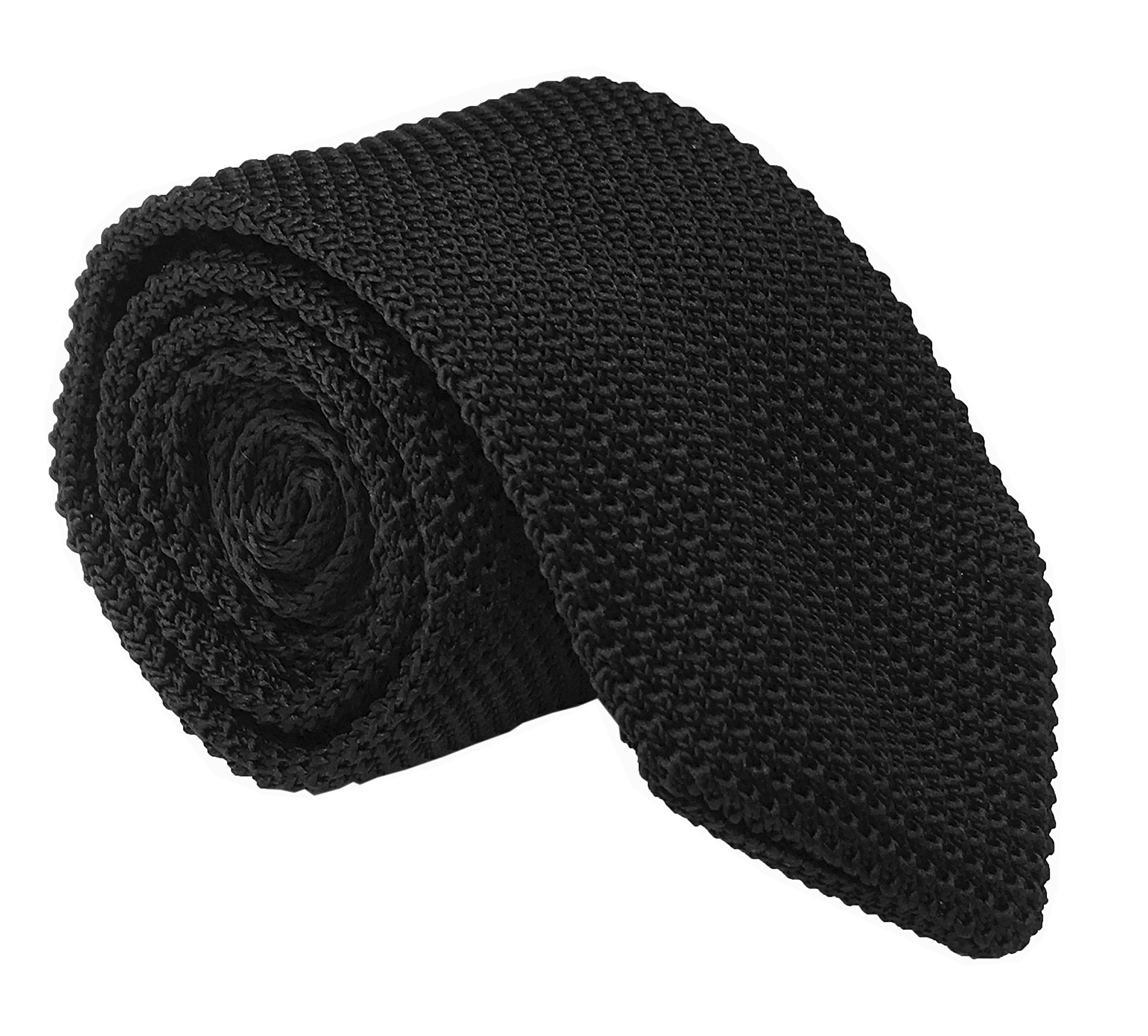 Men Solid Color Black Knitted Neck Tie Narrow Necktie Accessory Gift for Husband