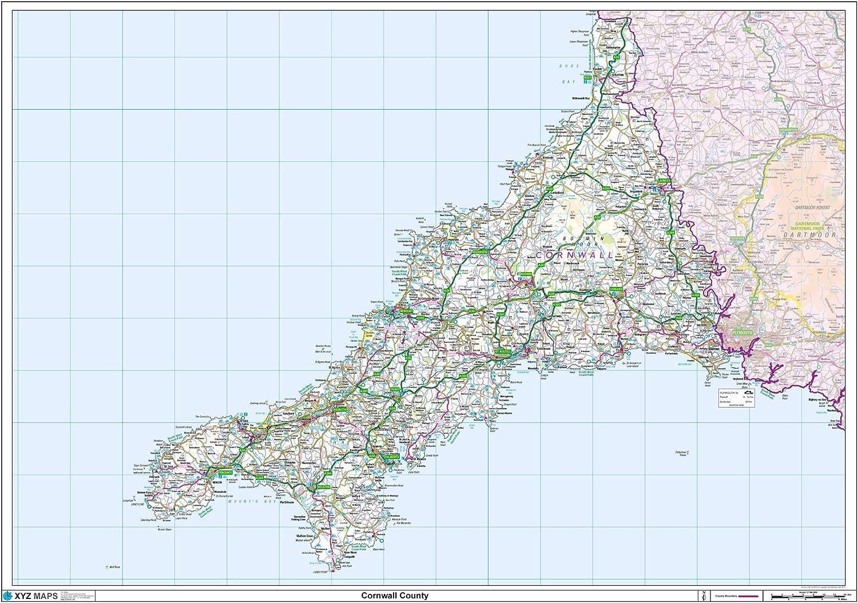 Cornwall County Map 47 x 33.25 Laminated