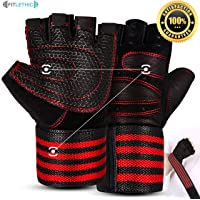Gym Gloves, Fitlethic Weightlifting Workout Gloves with Soft Padding and Wrist Wrap Support for Good Grip, Full Palm Protection- Suitable for Men and Women- Ideal for Weightlifting, Crossfit Training, Fitness, Pull Ups
