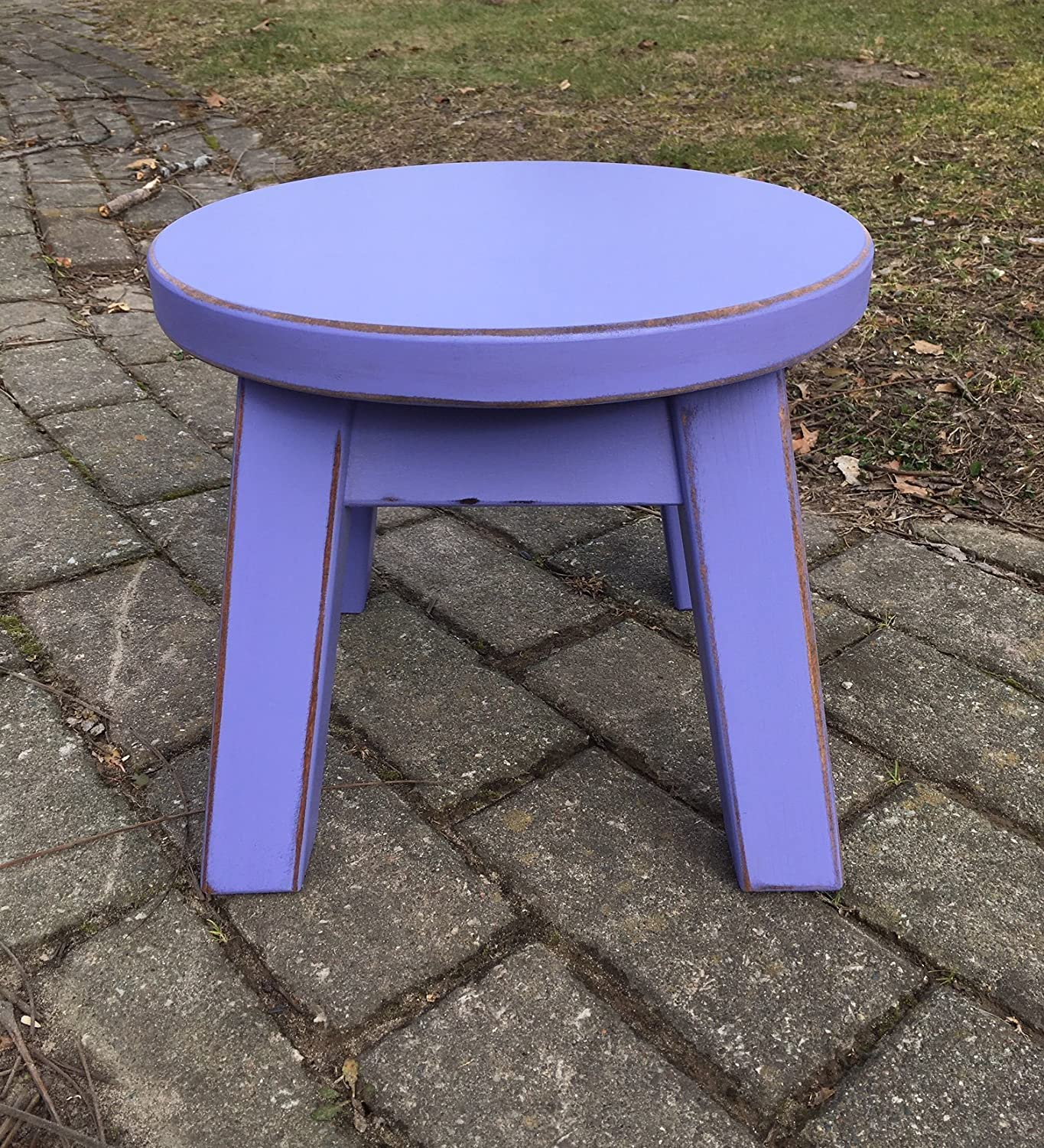 Purple step stool/foot stool/distressed/round top/riser 8