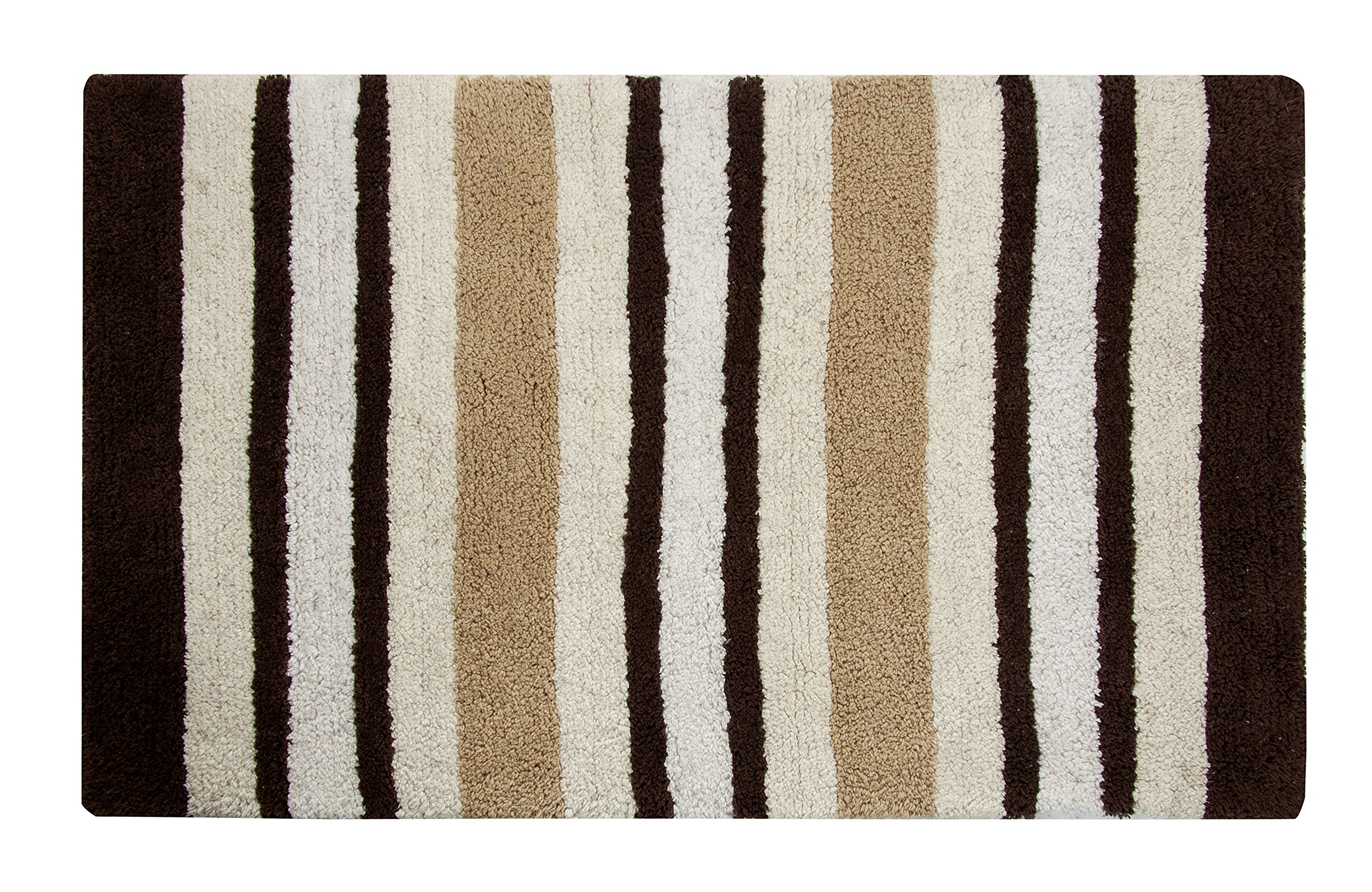 Saffron Fabs Woven Stripes Pattern Luxury Bath Rug, Ivory Multi - 100% super soft cotton and absorbent Machine washable Tumble dry for easy care - bathroom-linens, bathroom, bath-mats - 915BOIwI3VL -