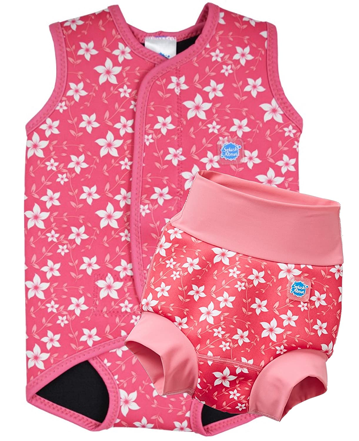 Splash About NEW IMPROVED Happy Nappy and Matching BabyWrap (2-3yrs Nappy 18-30m Wrap, Pink Blossom)