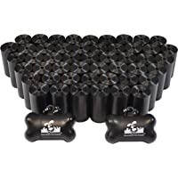 Downtown Pet Supply Dog Pet Waste Poop Bags with Two Free Leash Clips and Dispensers, 1000 Bags, Black
