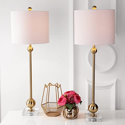 JONATHAN Y JYL2010A-SET2 Collection Hollis 34 Metal Table Lamp, Brass with Crystal Base Set of 2