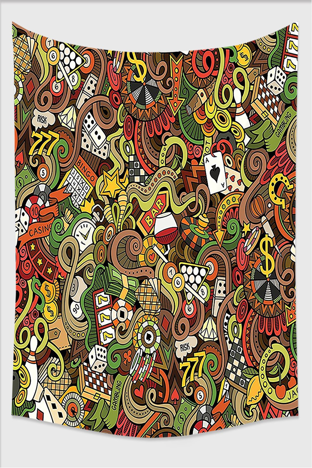 Nalahome-Casino Decorations Doodles Style Art Bingo Excitement Checkers King Tambourine Vegas Tapestry Wall Hanging Wall Tapestries 59L x 39.3W Inches