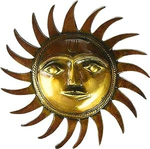 God Sun Brass Wall Hanging Sculpture God Sun Figurine Garden Home Decor Handmade Brass Art