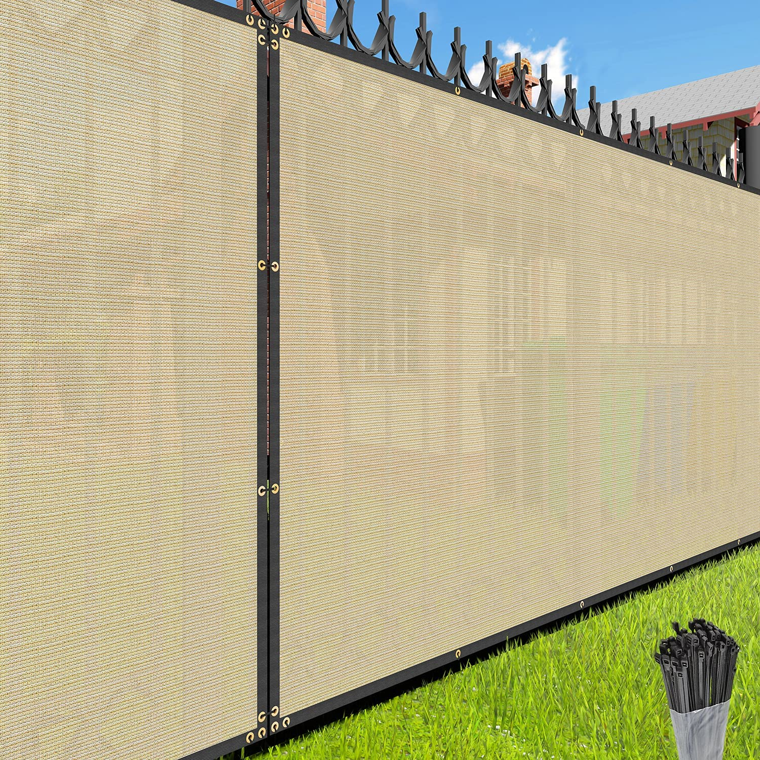EK Sunrise Fence Challenge the lowest price of Fixed price for sale Japan Privacy Screen with C Beige x 191' 6' Zipties