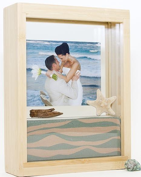 Unity Sand Ceremony Shadow Box Frame Bamboo Wood Sand Wont Mix