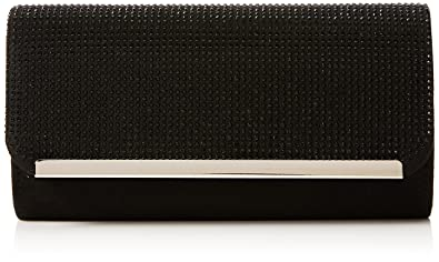 Womens Faux Suede Diamante Clutch Bag Clutch Black (Black) Quiz 90AcPHAf