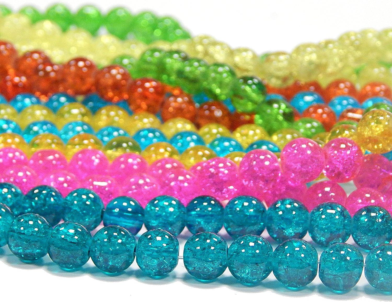 4mm 700 STK. 7 Str/änge Crackle Glasperlen Set 4mm 6mm 8mm Rund Glatt 7 Farben Crash Beads f/ür Basteln Schmuck Kette Auswahl