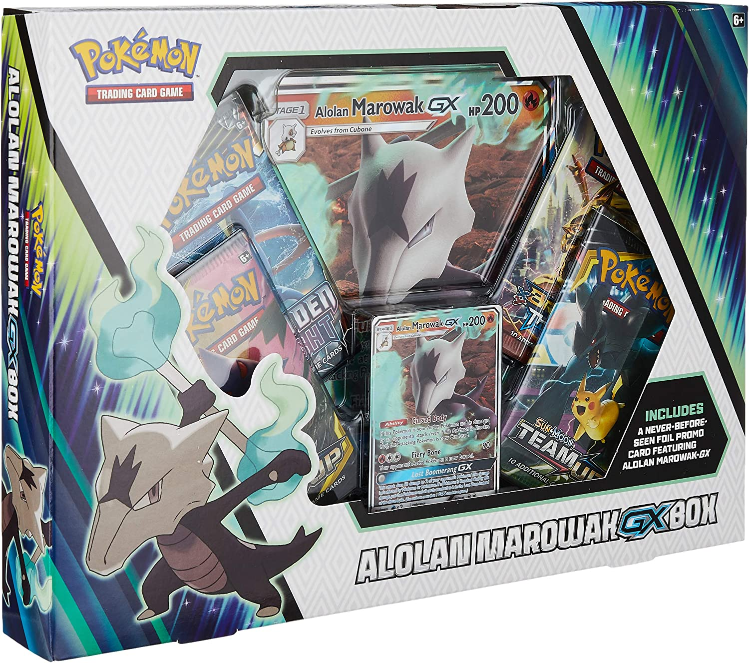 Pokemon Cards TCG: Alolan Marowak-Gx Box | 4 Booster Pack | A Foil Promo Card | A Foil Oversize Card | Genuine Cards