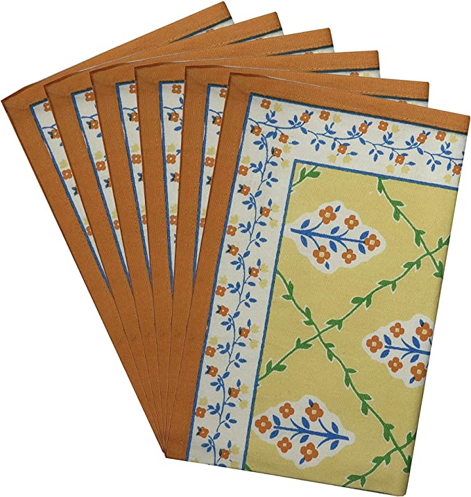 Amazon Com Shalinindia Indian Cotton Placemats For The Kitchen Table Yellow Blue Orange Floral Set Of 6 Washable 13 X 19 Place Mats Place Mats Kitchen Dining