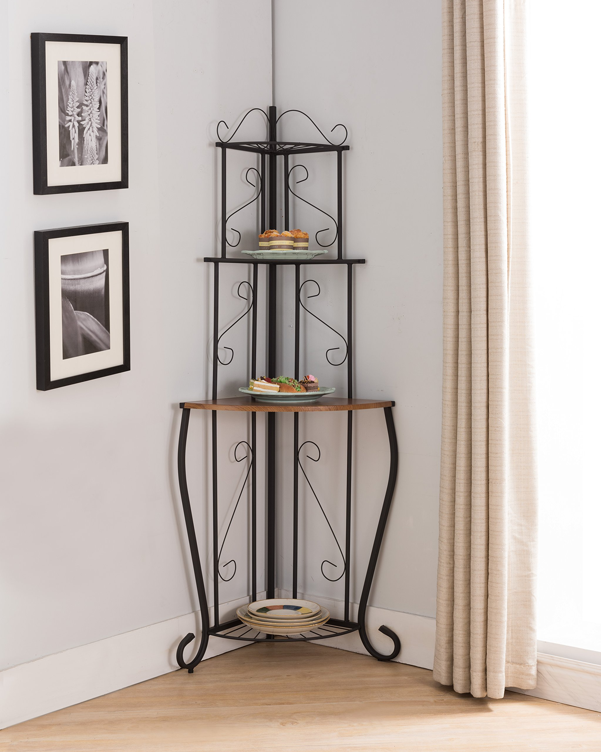 Black & Walnut Metal 3 Tier Corner Kitchen Bakers Rack Display Stand Organizer With Storage Shelves by Pilaster Designs