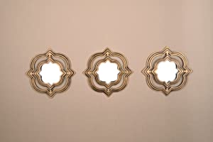 All American Collection New 3 Piece Decorative Mirror Set, Wall Accent Display (Gold Moroccan)