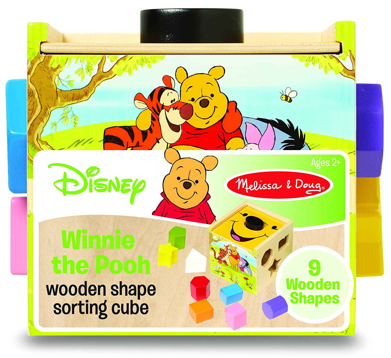 Disney Baby Winnie the Pooh Pooh Pooh Wooden Shape Sorting Cube cf5528