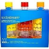 Sodastream 3000036 Lot de 3 Bouteilles Bulles de Couleur Plastique Jaune/Rouge/Orange 1 L