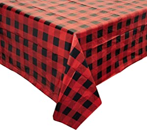 Buffalo Plaid Plastic Table Cover (54 x 108 in, 3 Pack)