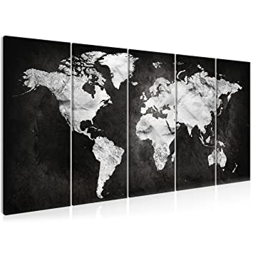 Decomonkey | Bilder Weltkarte 225x90 Cm 5 Teilig | Leinwandbilder Weltkarte  | Vlies Leinwand | WandBilder