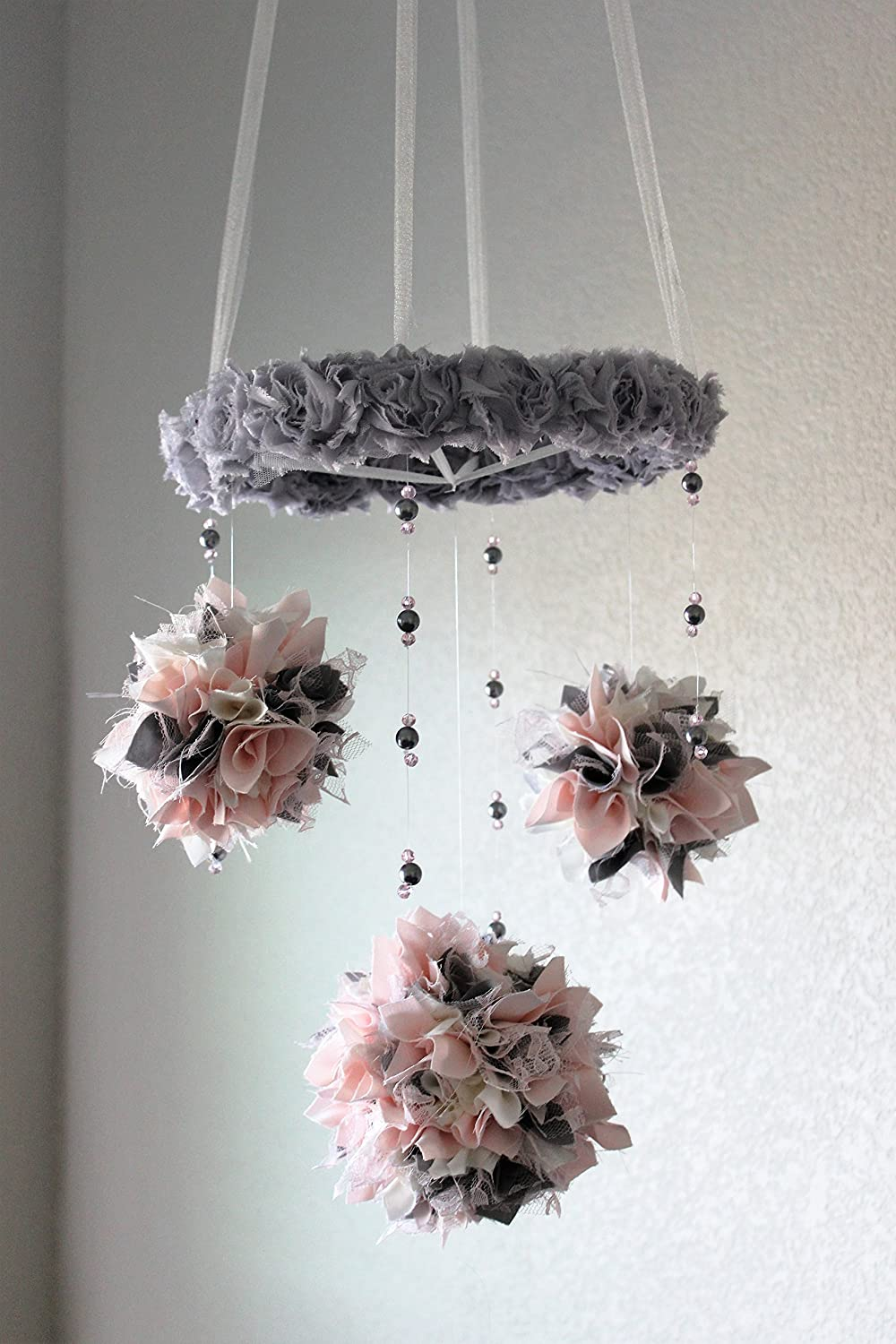 Pink and gray mobile, shabby chic pink grey lace nursery chandelier, beaded pearl crystal crib mobile, pink and gray nursery decor