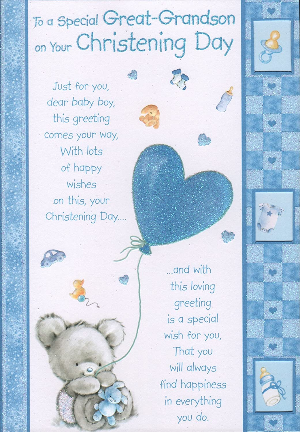 Great grandson christening card to a special great grandson on great grandson christening card to a special great grandson on your christening day amazon garden outdoors kristyandbryce Choice Image