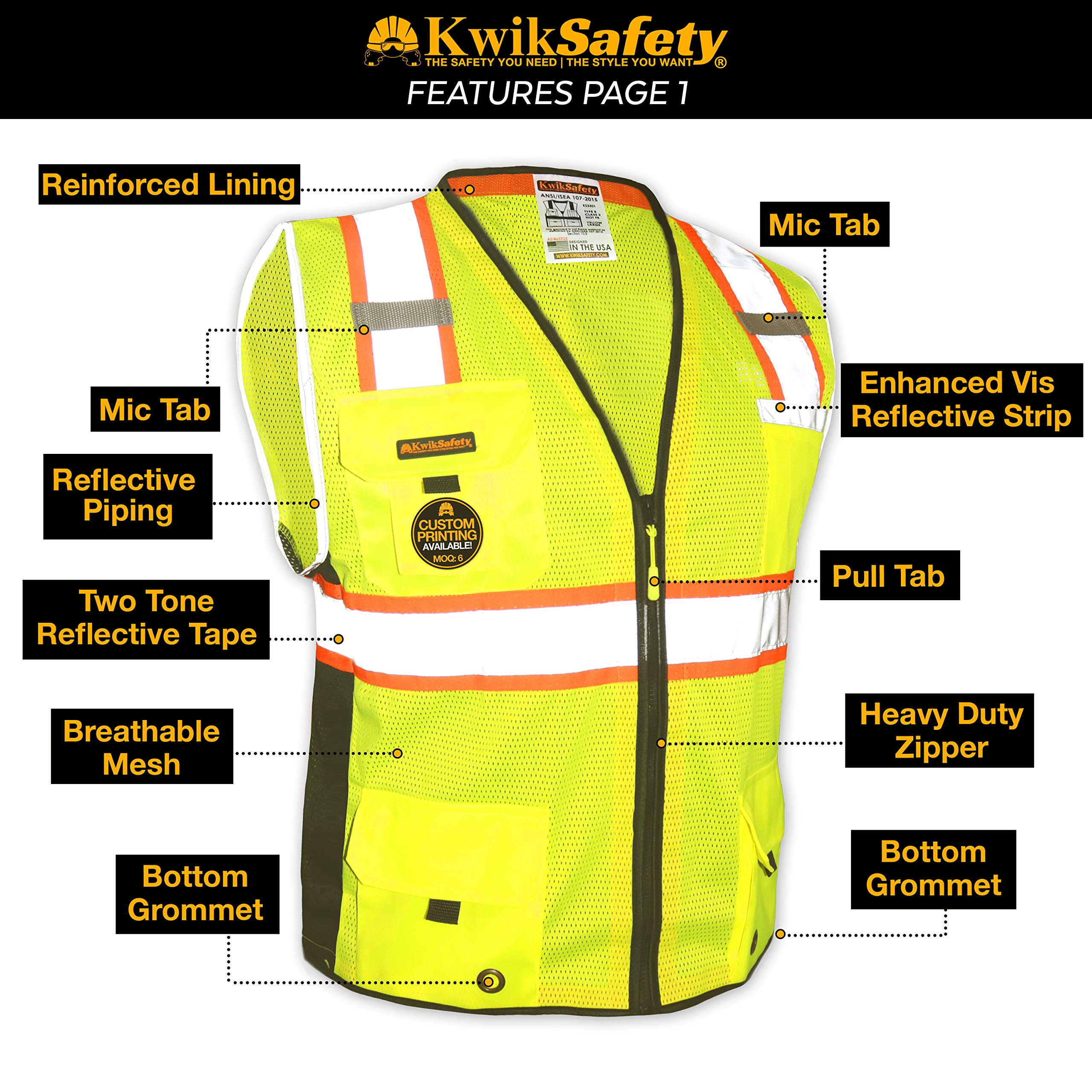 KwikSafety (Charlotte, NC) BIG KAHUNA (11 Pockets) Class 2 ANSI High Visibility Reflective Safety Vest Heavy Duty Mesh with Zipper and HiVis for OSHA Construction Work HiViz Men Yellow Black Small by KwikSafety (Image #4)