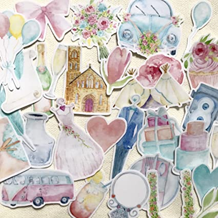 Amazon Beautiful Watercolor Wedding Scrapbook Stickers For
