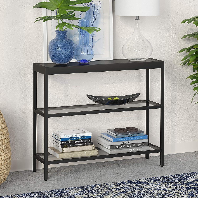 "Henn&Hart Modern Console Sofa 3-Tier Open Shelf, Entryway/Hallway Table for Living Room, Multiple Colors/Sizes, 36"" L, Black"