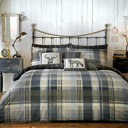 Connolly Check 100 Brushed Cotton Duvet Cover Set Single