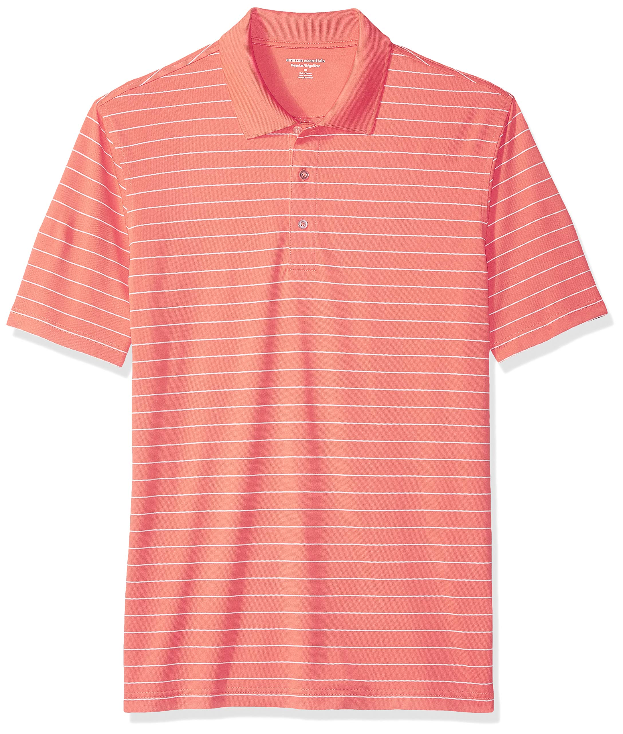 Amazon Essentials Men's Regular-Fit Quick-Dry Golf Polo Shirt, Coral Stripe, X-Small