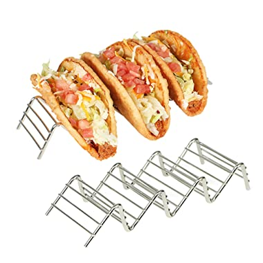 Stainless Taco Holder, 2-Pack Taco Holder, Steel Taco Server Rack for Taco Tuesday, Wire Taco Rack, Stainless Tortilla Rack, Metal Taco Stand for Kitchen, Unique Mini Taco Stand, Taco Holder Stand