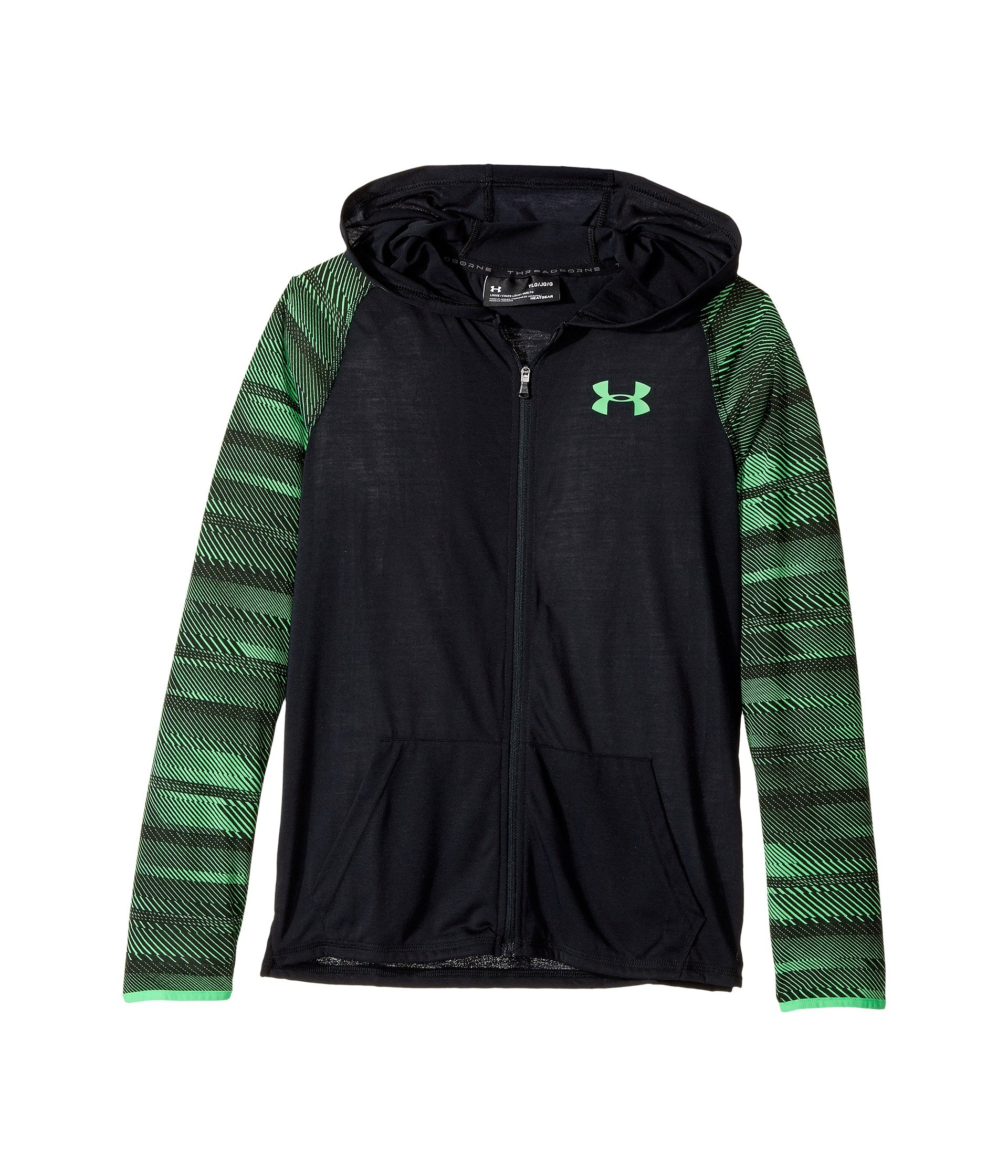 Under Armour Kids Boy's Threadborne Full Zip Hoodie (Big Kids) Black/Lime Twist/Lime Twist Sweatshirt