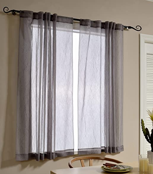 Mysky Home Back Tab And Rod Pocket Window Crushed Voile Sheer Curtains For Office Room