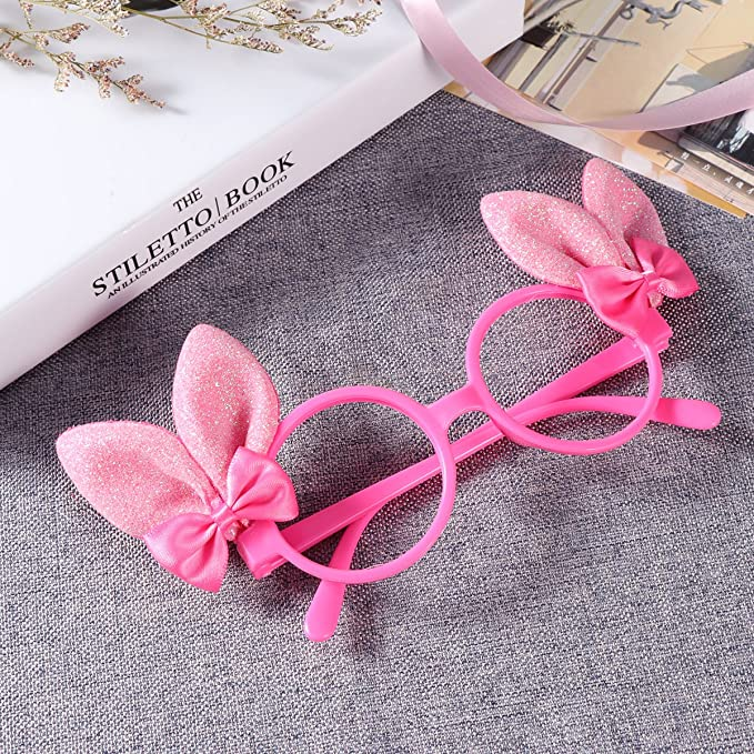 be4811dd5e Amazon.com  OULII Glitter Bunny Ears Funny Sunglasses Kids Easter Bunny  Costume Accessory Party Favor Props (Rosy)  Clothing