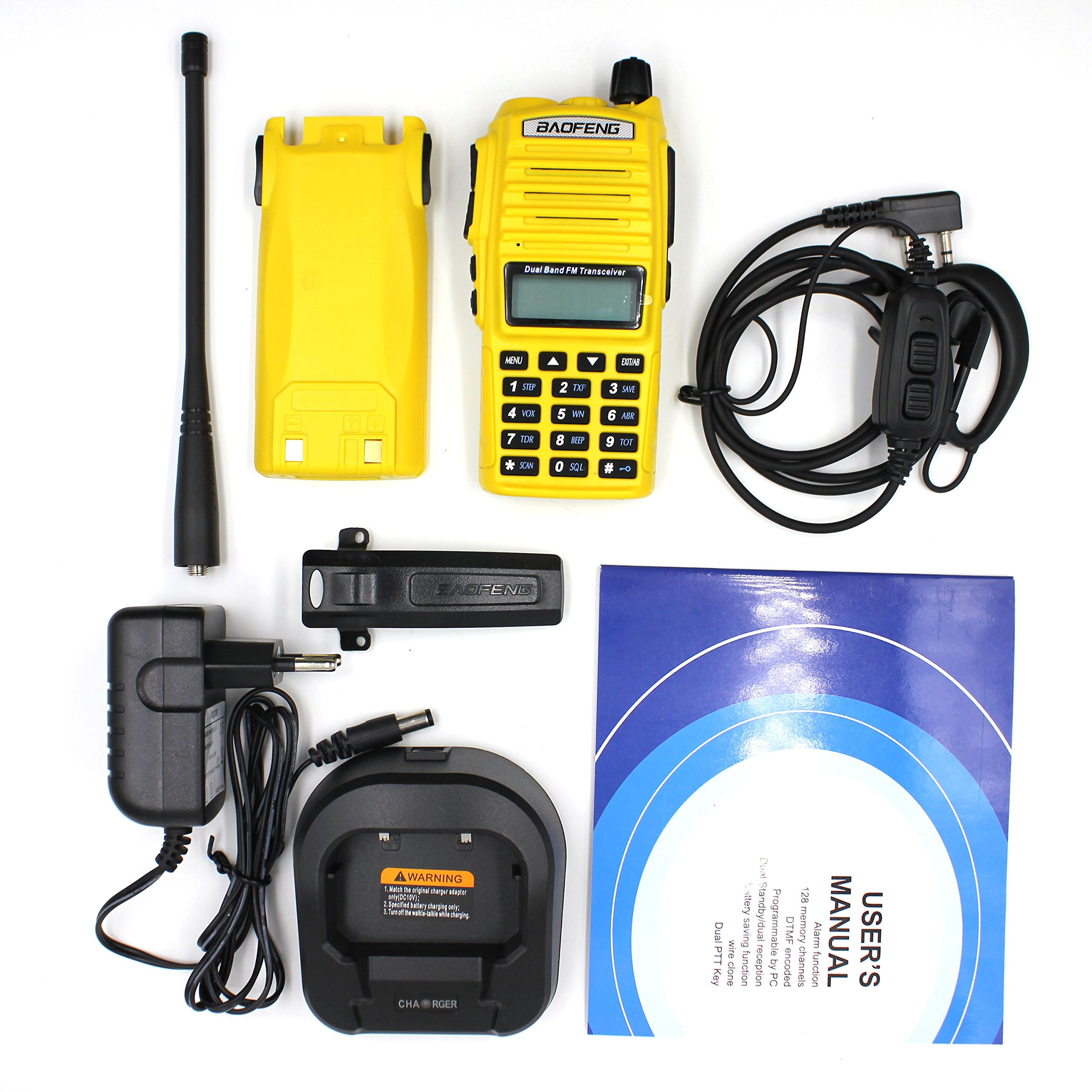 2PCS BaoFeng 5W UV-82 Dual Band UV82 VHF/UHF Analog Portable Two-Way Radio Yellow