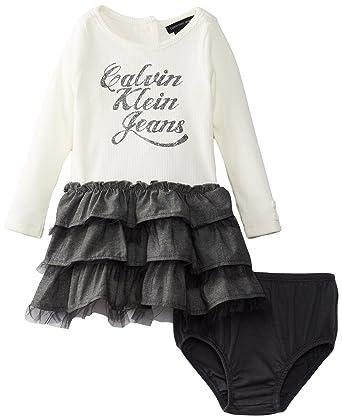f25a52fb55 Amazon.com  Calvin Klein Baby Girls  White Ruffled Dress