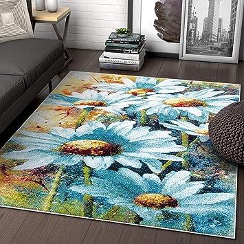 Amazon.com: Alfombra de área floral moderna, color azul y ...