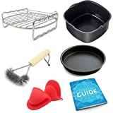 Air Fryer Accessories Grill Rack Baking Pan Bundle for Phillips Airfryer, NuWave Brio 3 QT, Della Deep Fryer and More - Fits all 3.7, 5.3, 5.8 QT and Up - Also Philips HD9220 HD9230 HD9240 - Set of 6