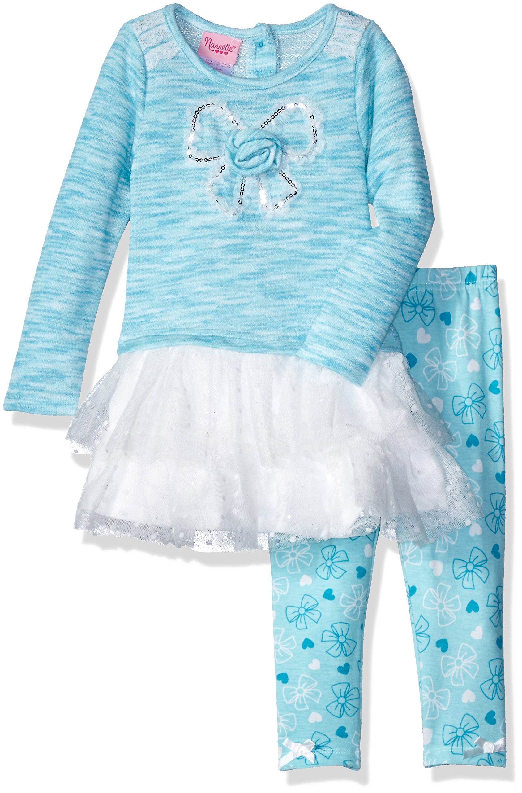 Nannette Little Girls' 2 Piece Fashion Legging Set with Spaced Dyed Top and Lace Trim, Blue, 4