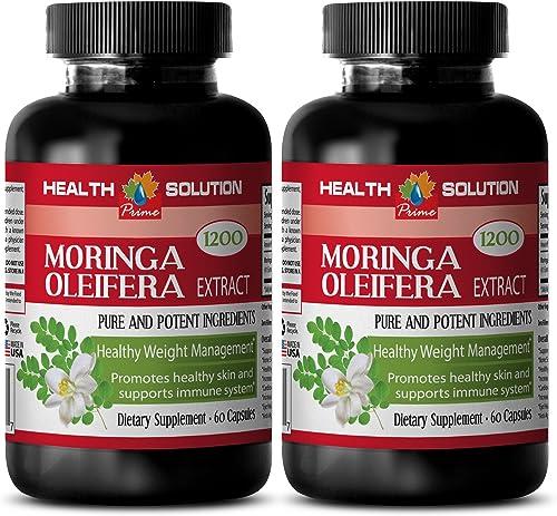 Organic Moringa Oil – Moringa OLEIFERA Extract 1200 – Cardiovascular 2 Bottles, 120 Capsules