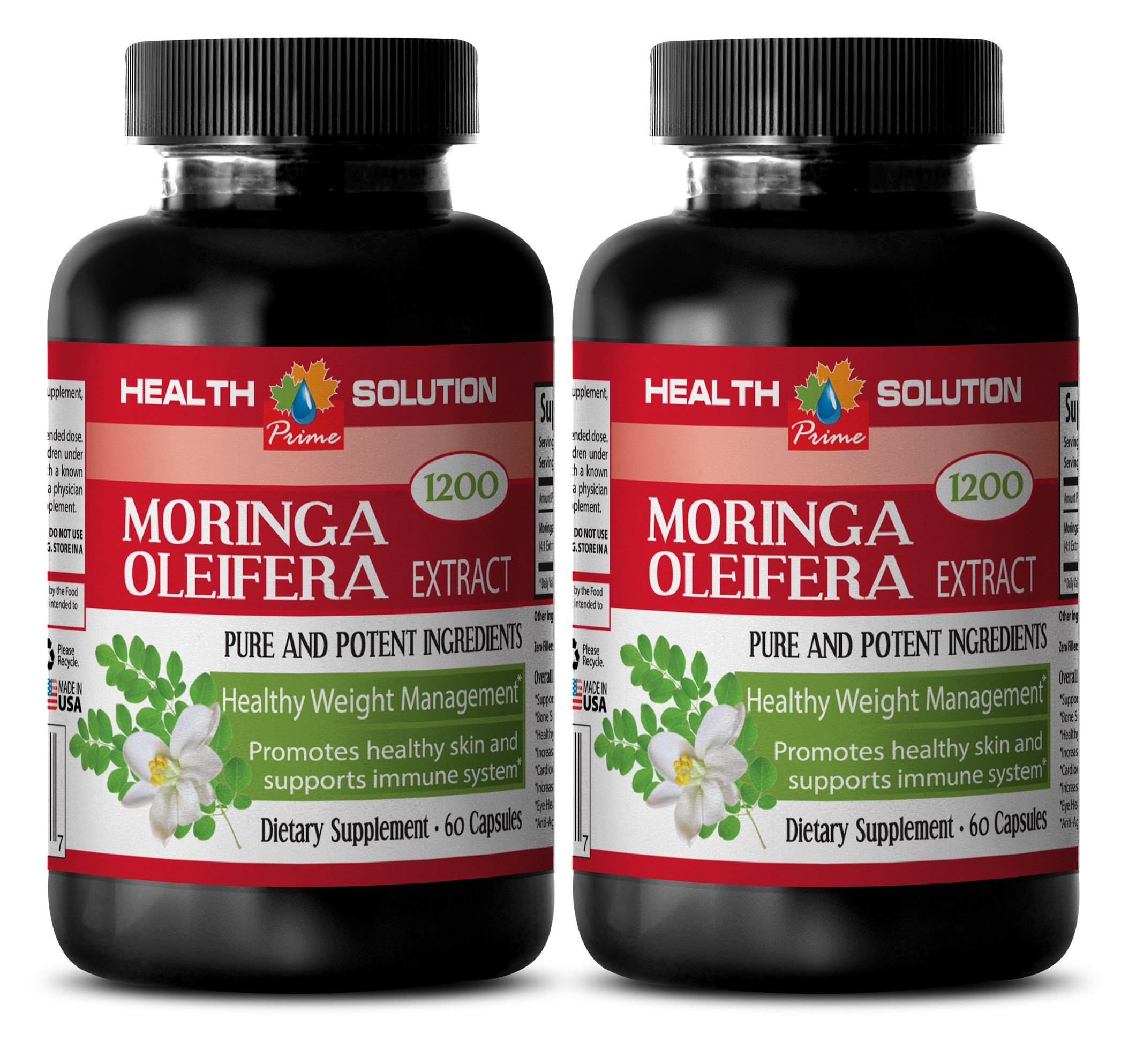 Moringa Organic Powder - MORINGA OLEIFERA EXTRACT 1200 - Pure Skin Clarifying Dietary Supplement 3 Bottles, 180 Capsules by Health Solution Prime (Image #4)