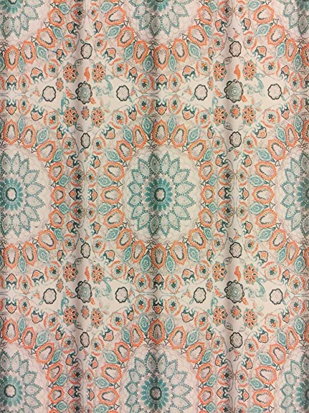 Cynthia Rowley Teal Turquoise And Tangerine Tapestry Medallion Shower Curtain